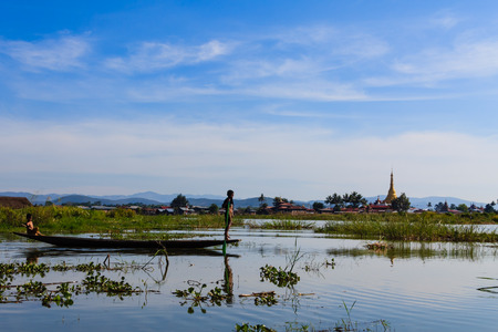 Inta People  and Pagoda ,  inle lake in Myanmar  Burmar  photo