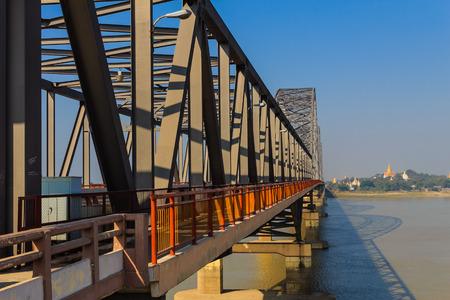 burmese: The Ava Bridge on the Irrawaddy , Sagaing in Myanmar  Burmar