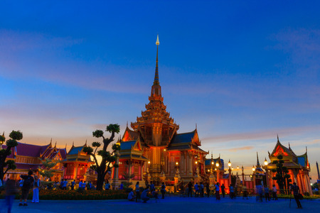 Twilight time of Royal Cremation Structure in Bangkok, Thailand Foto de archivo