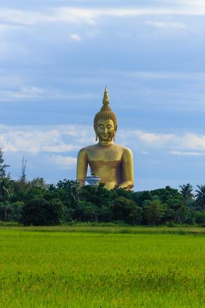 Ancient Big Buddha Image in the Field at Muang Temple , Ang Thong in Thailand photo