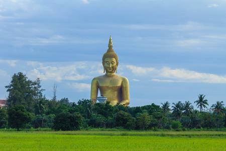 ang thong: Ancient Big Buddha Image in the Field at Muang Temple , Ang Thong in Thailand
