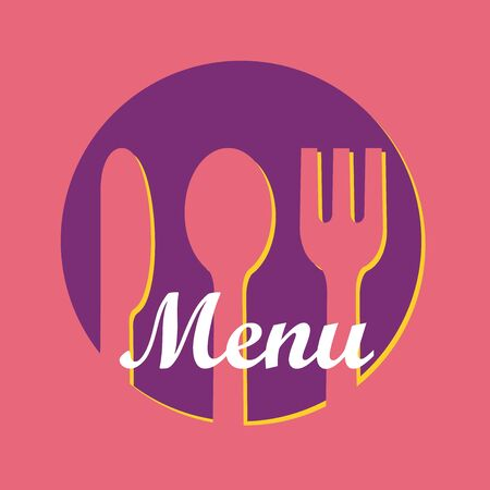 Menu Design Knife, Fork and Spoon in Pink and Purple color