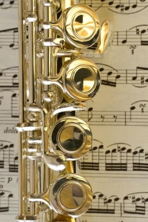 musicality: Particolare di tasti di un flauto s Archivio Fotografico