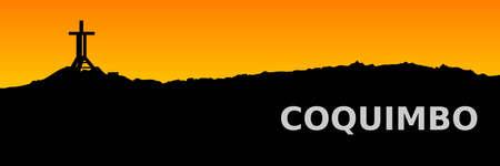 Silueta al atardecer de los cerros de Coquimbo, incluyendo a la Cruz del Tercer Milenio,