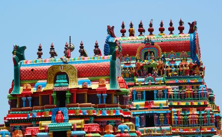 sita: These are the temple towers of the Ramaswami temple in Kumbakonam Stock Photo