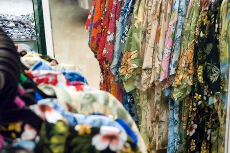 Series of Hawaiian shirts on sale Stock fotó
