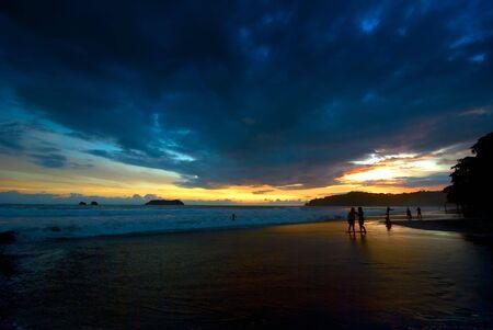 antonio: Manuel Antonio, Costa Rica beach at sunset. Stock Photo