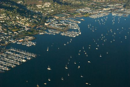 This is the coast of Sausalito town in California.  This photograph was taken from a Cessna plane.