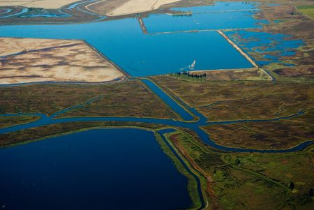 This is the Vallejo delta in the San Francisco bay area.  This photograph was taken from a Cessna plane at 3000 feet. Banco de Imagens