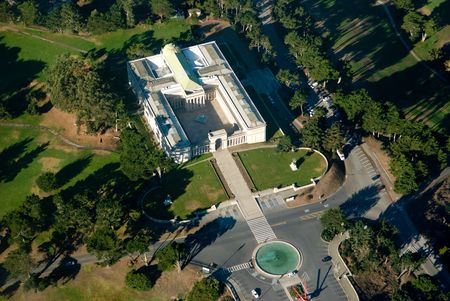 legion: This is an areal view of the Legion of Honor fine art museum in San Francisco.  This was taken from 2000 feet from a Cessna plane.