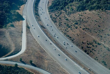 This is freeway 280 in San Francisco bay area.  This photograph was taken from a cessna plane at 2000 feet. Banco de Imagens