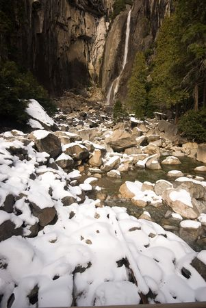 This is the lower Yosemite falls amidst snow, Yosemite National Park