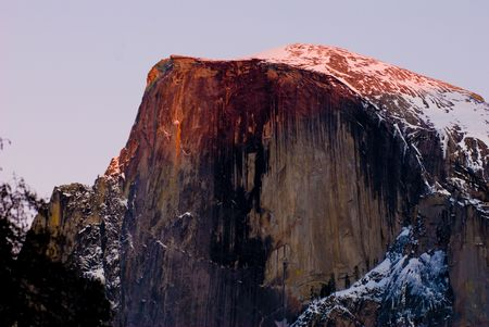 half dome: Half dome during sunset, Yosemite National Park. Stock Photo