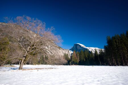 half dome: Half dome and frozen cookes meadow, Yosemite National Park Stock Photo
