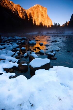 el capitan: El Capitan and frozen merced river at sunset, Yosemite National Park.