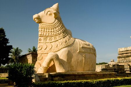This is nandi stone statue in Gangai Konda Cholapuram temple photo