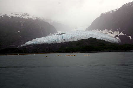 Glacier and kayakers, Alaska Stock Photo - 2905655