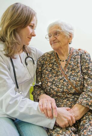 carer: Old woman tells a story to the young doctor
