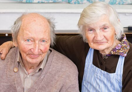 elderly adults: old happy grandparents staying together Stock Photo