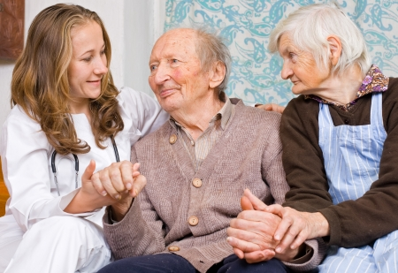 old carer: Old couple and the young sweet doctor
