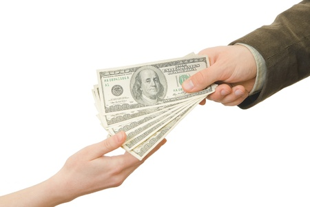 woman holding money: Businessman gives the money to the woman
