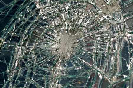 car detail: the broken windshield in car accident