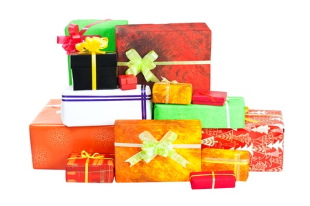 christmasy: Many isolated christmas present on white background