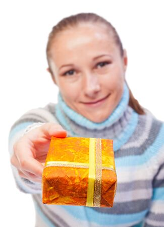 christmasy: Portrait of sweet young girl with christmas presents