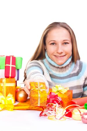 christmasy: Portrait of sweet young girl with christmas present