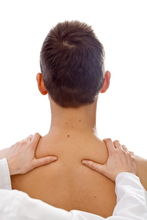 The palpation physical examination of the thoracic cavity Stock Photo