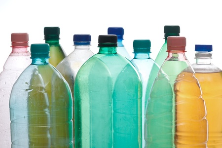 liquid material: Transparent recyclable plastic bottles in different color