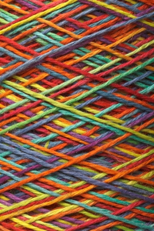 close knit: The multicolored yarn used for knitting clothes
