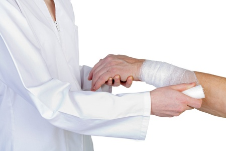 gauze: Wrist bandaging the therapy in the carpal tunnel syndrome Stock Photo