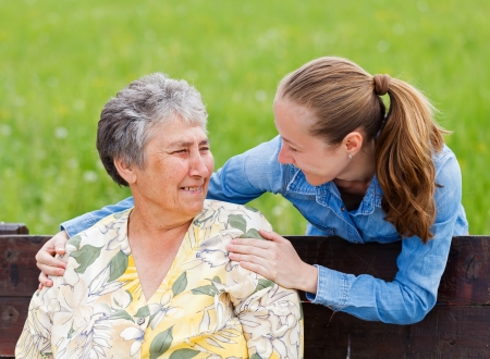 mature old generation: Elderly woman and her daughter enjoy themselves Stock Photo