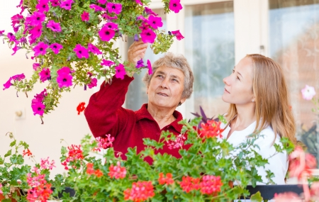 home health care: Elderly woman shows her flowers to her assistant Stock Photo