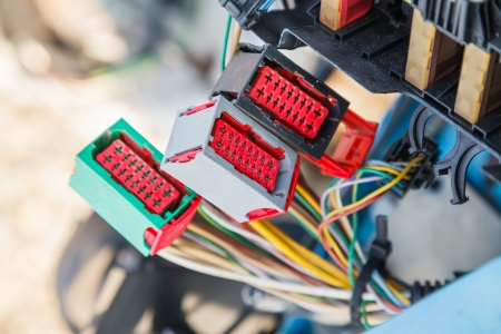 Close up photo of the car electrical system Stock Photo