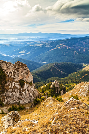 Picturesque landscape on the mountains in Transylvania
