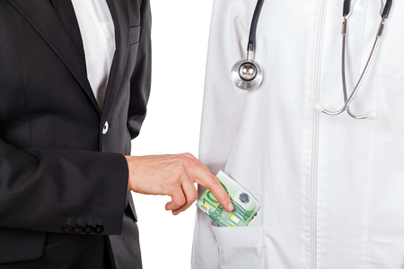 paid medicine: Patient paying for medical services with euro