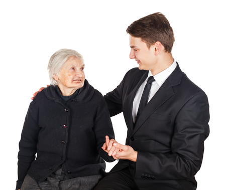 carers: Photo of elderly woman and young businessman
