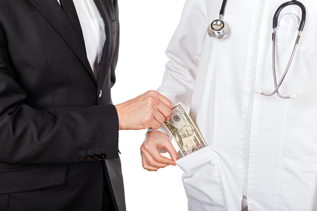 paid medicine: Patient paying for medical services with dollar