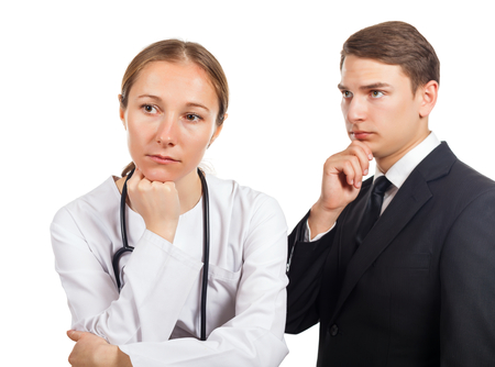 Doctor and her lawyer thinking about how to solve the problem photo