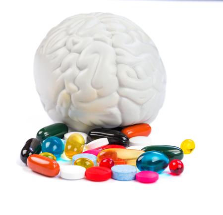 Closeup photo of colorful neuropsychiatric roborating pills