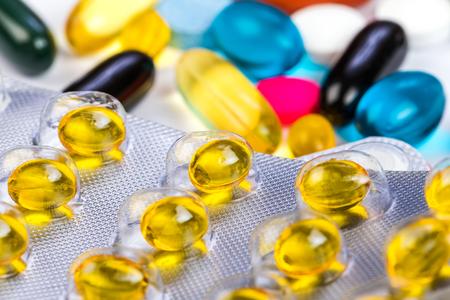 adjuvant: Closeup photo of the diversity colorful pills  Stock Photo