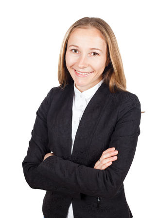 Close up of young pretty businesswoman smiling confidently Stock Photo - 26901633