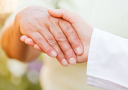 needy: Giving helping hands for needy elderly people Stock Photo