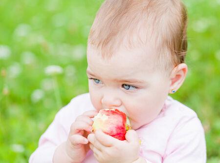 nibble: Photo of an adorable baby girl nibble an apple Stock Photo