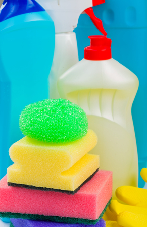 disinfecting: Photo of detergent bottles and cleaning products