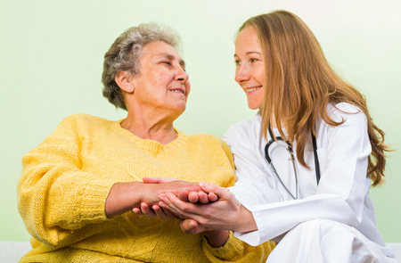 senior carers: Photo of happy elderly woman with her daughter