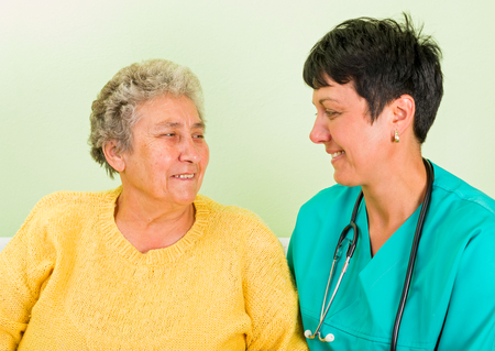 senior carers: Photo of elderly woman with the doctor