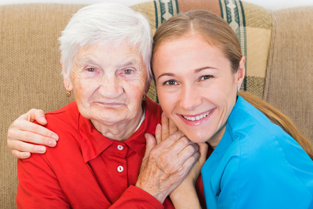 Photo of elderly woman with the young carer